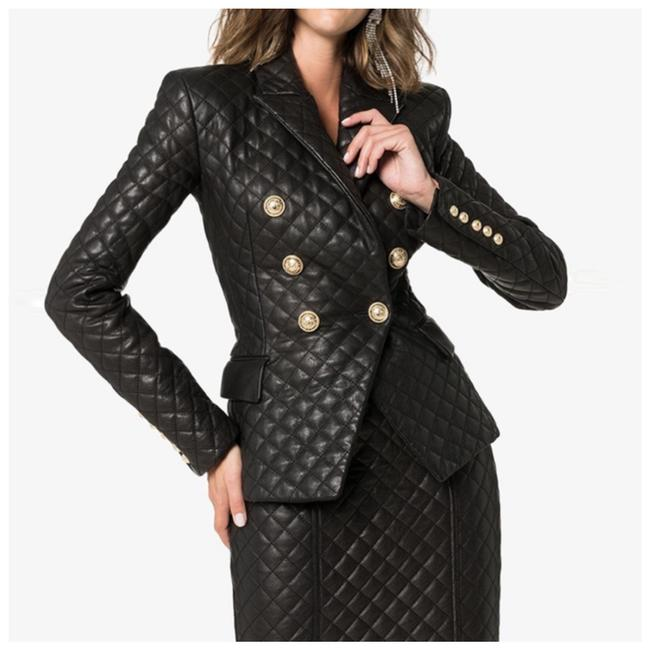 Item - Black & Gold The Dayne Quilted Jacket Set Skirt Suit Size 2 (XS)