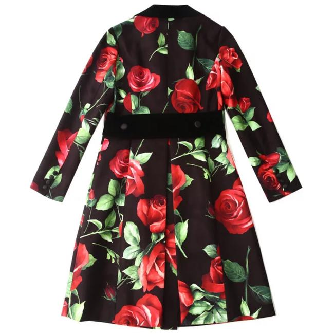 Item - Black & Red The Jutka Floral Velvet Jacket Blazer Size 4 (S)