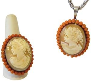 AMEDEO AMEDEO Sterling Silver 35mm Cameo Pendant and Ring Set