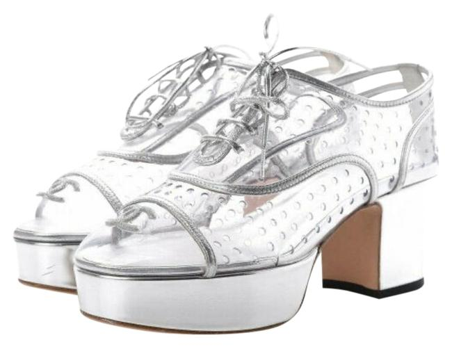 Chanel Pvc / Silver Transparent Lace Up Leather 10 Platforms Size EU 40.5 (Approx. US 10.5) Regular (M, B) Chanel Pvc / Silver Transparent Lace Up Leather 10 Platforms Size EU 40.5 (Approx. US 10.5) Regular (M, B) Image 1