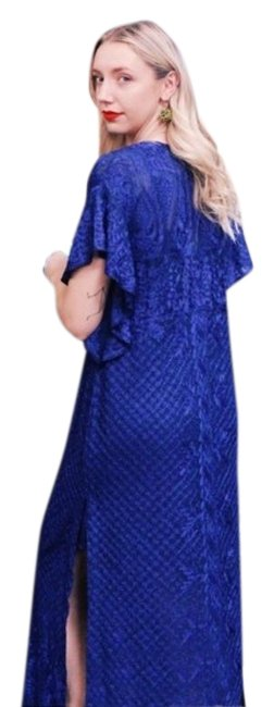 Item - Blue Silk Embroidered 1/S/6 Long Casual Maxi Dress Size 6 (S)