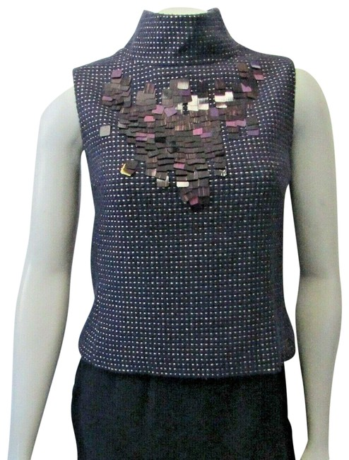 Item - Deep Purple / Gold Sequin Layer Sleeveless 34 High Neck Back Buttons Blouse Size 2 (XS)