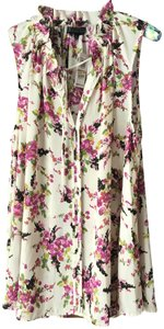 Bobeau New With Tags Sleeveless Tropical Floral Deep V Polyester Tunic