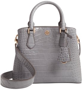 Tory Burch Triple Compartment Robinson Croc Embossed Satchel in Grey
