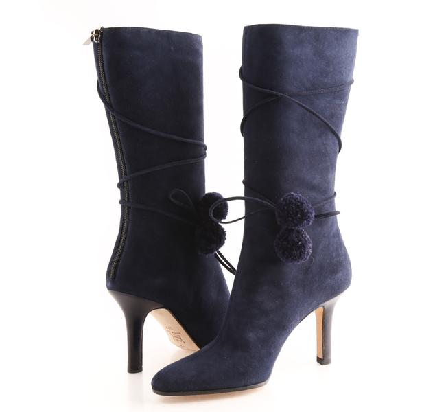 Item - Navy Suede Mid Calf Pompom Boots/Booties Size US 7.5 Regular (M, B)