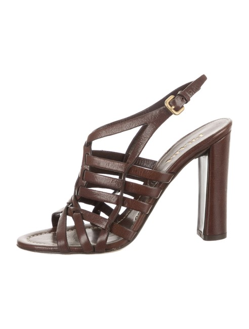 Item - Brown Leather Caged Slingback Sandals Size EU 38.5 (Approx. US 8.5) Regular (M, B)