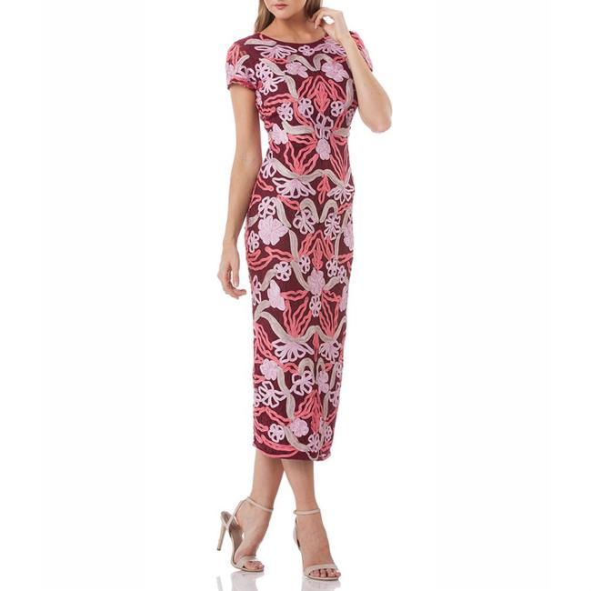 Item - Wine / Rasberry Soutache Embroidered Floral Mid-length Cocktail Dress Size 12 (L)