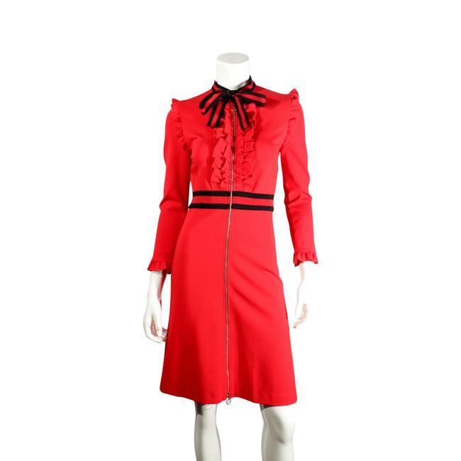 Gucci Red W Knee-length Long Sleeve W/ Web & Ruffle Accent Zip Mid-length Formal Dress Size 4 (S) Gucci Red W Knee-length Long Sleeve W/ Web & Ruffle Accent Zip Mid-length Formal Dress Size 4 (S) Image 1