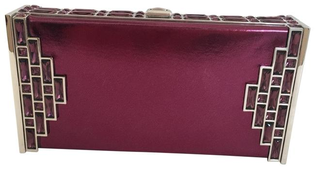 Item - Coffered Rectangle Amethyst Patent Leather Clutch