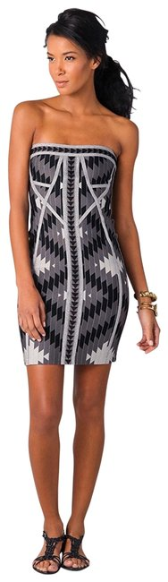 Item - Black and Gray Print Strapless Bandage #herve40103 Short Night Out Dress Size 4 (S)