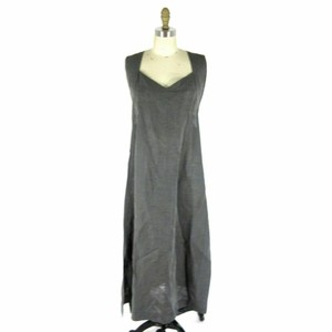 Gray Maxi Dress by Issey Miyake Vintage Black Pinstriped Linen
