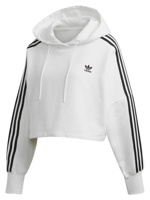 Item - White Logo Cropped Hoodie Activewear Outerwear Size 8 (M)
