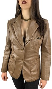 Etienne Aigner taupe brown Leather Jacket