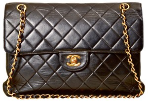 Chanel Quilted Double Flap Lambskin Leather Shoulder Bag
