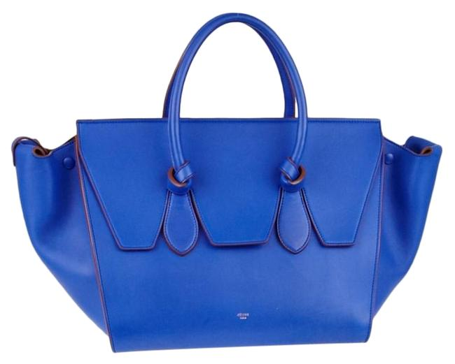 Item - Tie Knot 1ck1204 Blue Calfskin Leather Tote