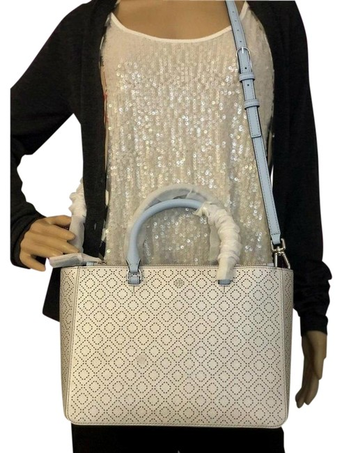 Item - Robinson New Perforated Metallic Small Multi Tote Soft Silver Leather Satchel