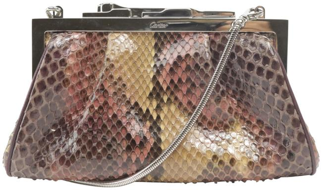 Item - Evening With Panther Closure 10ck1204 Silver Python Skin Leather Cross Body Bag