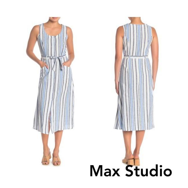 Item - Clbndkgr XS Striped Button Up Linen Blend Midi Xs. Mid-length Casual Maxi Dress Size 2 (XS)
