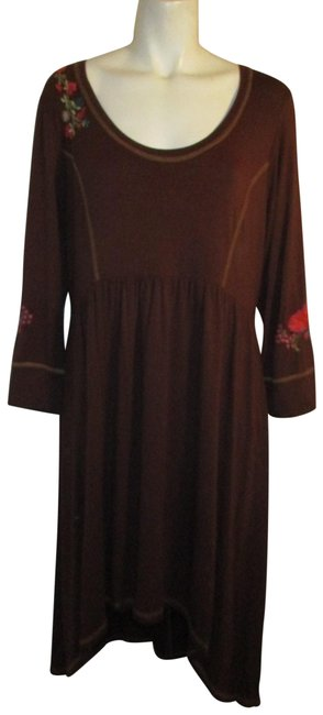 Item - Brown Multi Embroidered Knit 3/4 Sleeve Boho Short Casual Dress Size 16 (XL, Plus 0x)