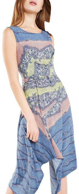 Item - Blue XS Ezra Print Asymmetrical Bcbg Mid-length Formal Dress Size 2 (XS)