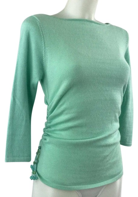 Item - Blue Knit Cashmere Ruched & Beaded Long Sleeve Blouse Size 8 (M)