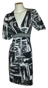 BCBGMAXAZRIA short dress Black and White Print Size Small Preloved Knee Length on Tradesy
