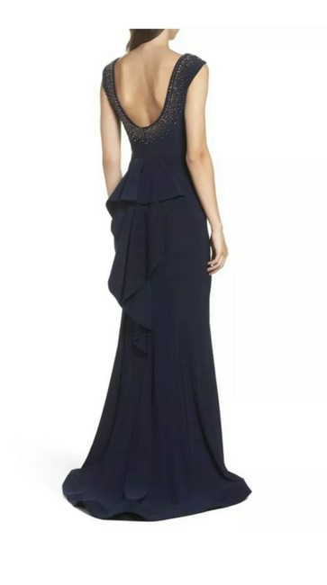 Item - Midnight Blue Jersey Beaded Ruffle Back Trumpet Gown Long Formal Dress Size Petite 8 (M)