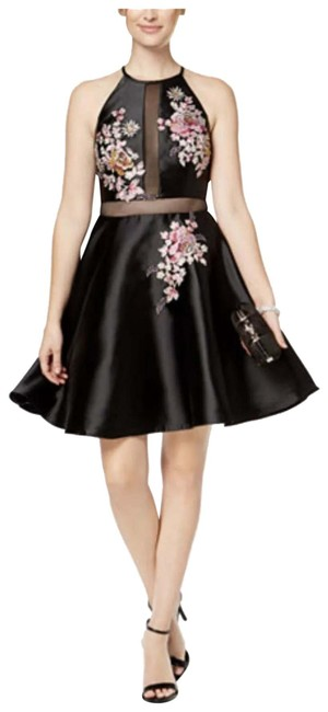 Item - Black Embroidered Illusion Fit & Flare Long Formal Dress Size 0 (XS)