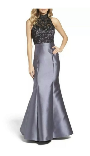 Item - Black/Gray Lace & Satin Mermaid Gown Long Formal Dress Size 4 (S)