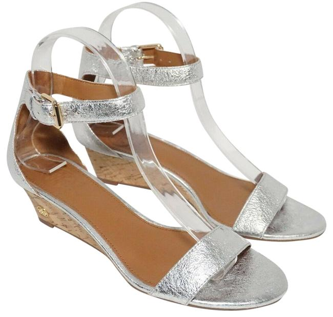 Item - Silver Savannah 45mm Wedge Ankle Strap Leat Sandals Size US 7.5 Regular (M, B)