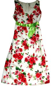 Hanna Andersson short dress Red White Green Sateen Ribbon Rose Floral Sleeveless V-neck Cotton on Tradesy