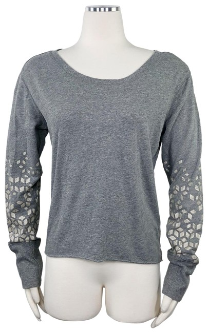 Item - Grey Geometric Geo Print Graphic Scoop Neck Slv Lightweight M Activewear Top Size 8 (M)