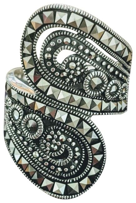 Designer Bali Sterling Silver Marcasite Bypass Ring Designer Bali Sterling Silver Marcasite Bypass Ring Image 1