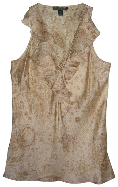 Item - Beige Silk Floral Sleeveless Blouse Size 4 (S)