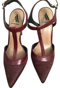Ava & Aiden Stiletto Calf-hair T-strap Burgundy Pumps