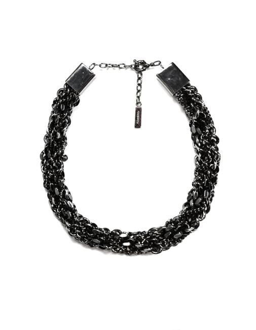 Item - Silver Gunmetal Multi-strand Wrapped Chain Necklace