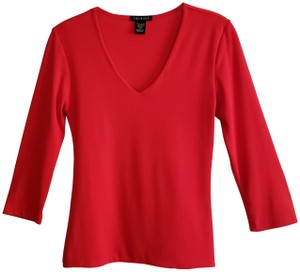 Carilyn Vaile Red Slim Fit Stretch Top V Neck