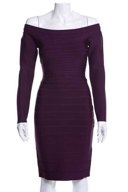 Hervé Leger Purple Long Sleeve Short Night Out Dress Size 8 (M) Hervé Leger Purple Long Sleeve Short Night Out Dress Size 8 (M) Image 1