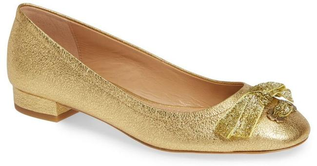 Item - Gold Lia Bow Leather Low Pumps Size US 8.5 Regular (M, B)
