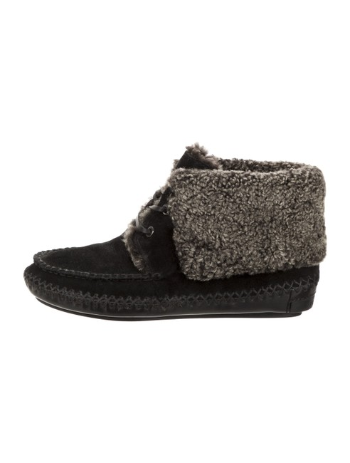 Item - Black New Nathan Suede Shearling Lined Logo Moccasin Boots/Booties Size US 6 Regular (M, B)