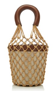 STAUD Bucket Moreau Net Tote in Brown Leather Canvas
