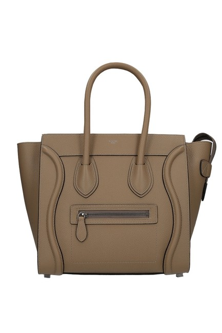 Item - Luggage Micro In Drummed Calfskin Dune Leather Tote