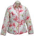 Anne Carson Quilted Barn Silk Floral Print Sequin White Jacket