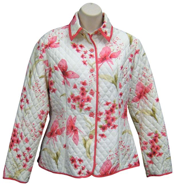 Anne Carson White Quilted Barn Silk Pink Floral Print Sequins 959509 Jacket Size 8 (M) Anne Carson White Quilted Barn Silk Pink Floral Print Sequins 959509 Jacket Size 8 (M) Image 1