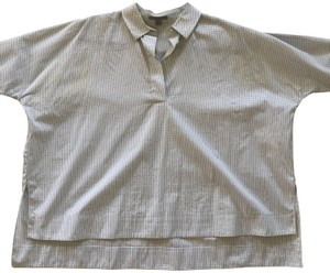 COS Batwing Gingham Button Down Shirt Blue checkered