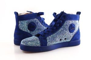 Christian Louboutin Blue Orlato Suede Rhinestone High Tops Shoes