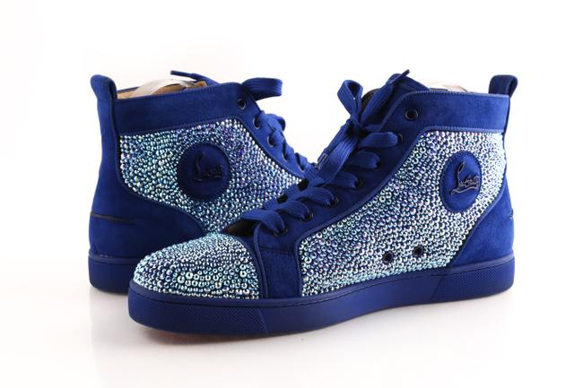 Christian Louboutin Blue Orlato Suede Rhinestone High Tops Shoes Christian Louboutin Blue Orlato Suede Rhinestone High Tops Shoes Image 1