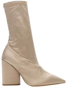 YEEZY Satin Pointed Toe Chunky Heel Stretch Beige Boots