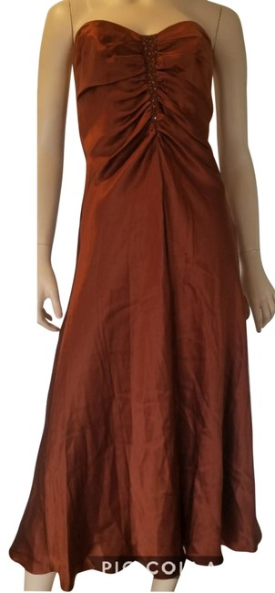 Item - Rust Brown Exotic Nights Mid-length Formal Dress Size 8 (M)