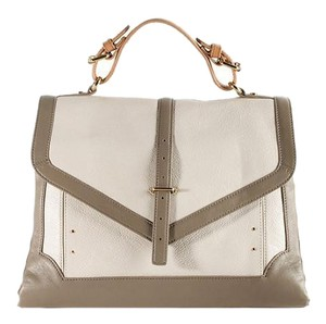 Tory Burch Satchel in off white and gray colorblock